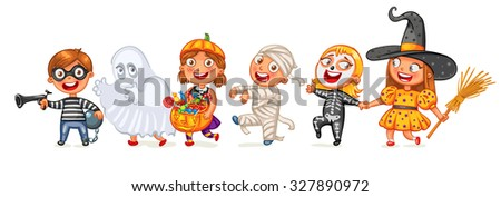 Happy Halloween. Funny little children in colorful costumes. Robber, ghost, mummy, skeleton, witch. Cartoon character. Vector illustration. Isolated on white background - stock vector