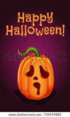 Happy Halloween Funny Pumpkin Jackolantern On Stock Vector ...