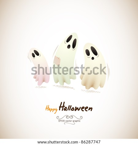 Happy Halloween Ghosts | Separate Layers Named Accordingly - stock vector