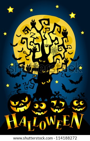 Happy Halloween! Glowing halloween pumpkins, tree and many flying bats on abstract background with big moon. - stock vector