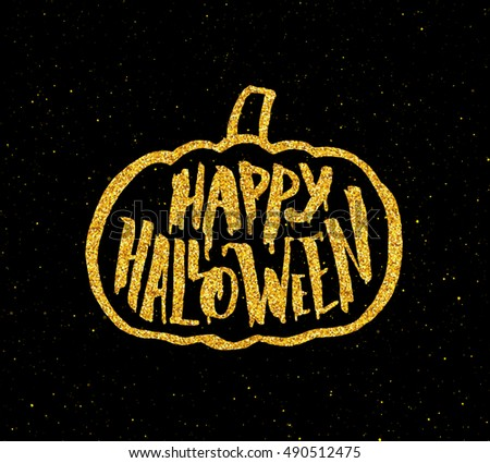 Happy Halloween Greeting Card Design. Festive Banner For 31 October Night  Party With Golden Lettering