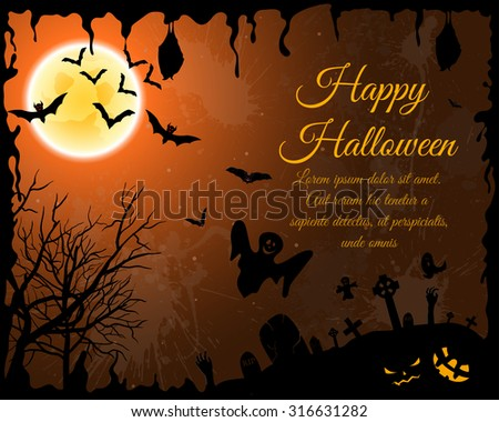 Happy Halloween Greeting Card. Elegant Design With Bats, Spooky, Grave, Cemetery, Tree and Moon  Over Orange Grunge Starry Sky Background With Ink Blots. Vector illustration. - stock vector