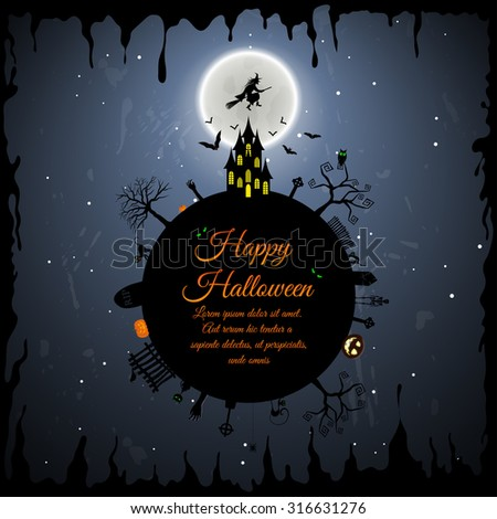 Happy Halloween Greeting Card. Elegant Design With Castle, Bats, Owl, Grave, Tree, Witch, Cemetery and Moon Over Grunge Dark Blue Starry Sky Background. Vector illustration. - stock vector