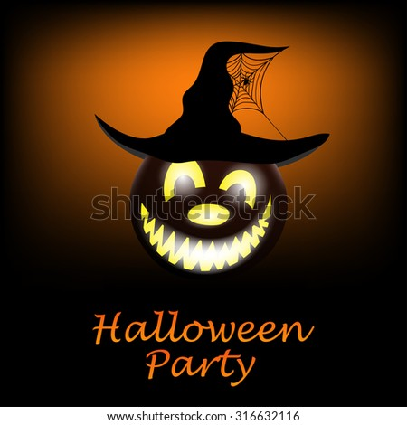 Happy Halloween Greeting Card. Elegant Design With Smiling Pumpkin and Witch Hat with Web and Spider  Over Grunge Orange Background. Vector illustration. - stock vector
