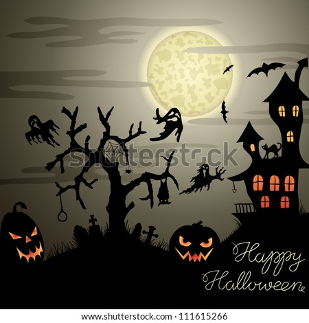 Happy Halloween greeting card with ghosts, graves, bats, pumpkins, etc. - stock vector