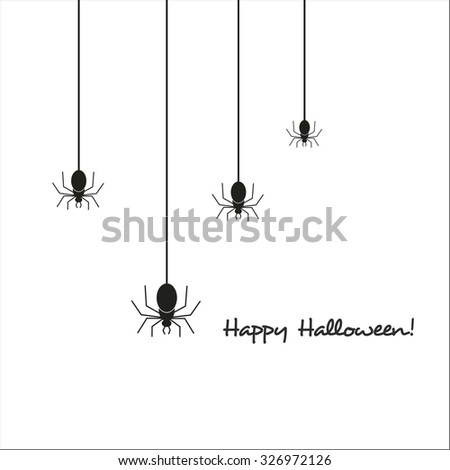 Happy Halloween greeting card with spider - stock vector