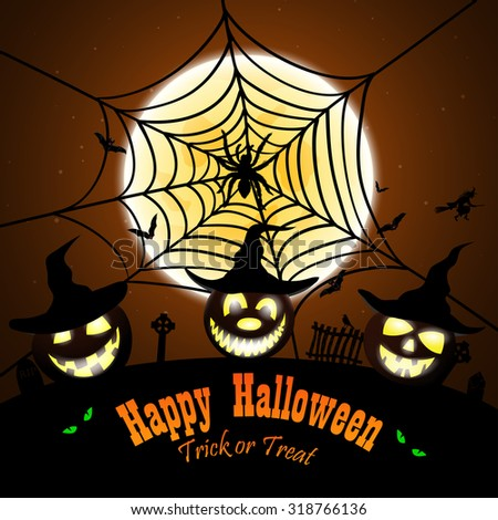 Happy Halloween Greeting (Invitation)  Card. Elegant Design With Smiling Pumpkin in Front of Moon and Spider With Web Over Grunge Orange Background. Vector illustration. - stock vector