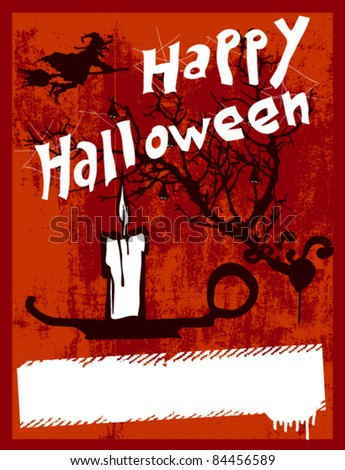 happy halloween grunge poster with candle