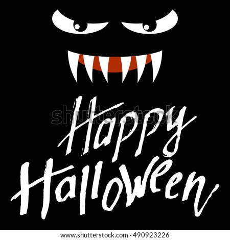 Happy Halloween Hand Drawn Cursive Vector Letters. Design Calligraphy Handwritten Phrase is Inviting for All hallows' day. A Greeting Creation text was written with a brush. Lettering Illustration.