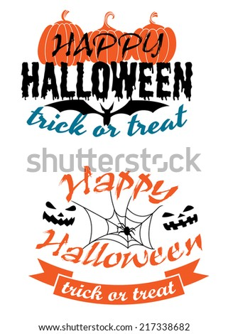 Happy Halloween holiday party banners with pumpkins, monster faces, flying bat, spider and trick or treat signs - stock vector