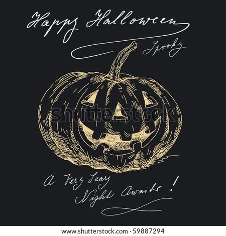 happy halloween in black - stock vector