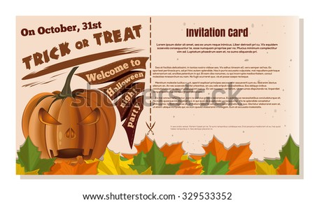 Happy Halloween. Invitation card. Festive beige background.  Vector flyer template.