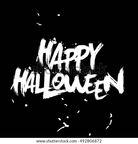 happy halloween lettering hand writing calligraphy halloween type white text on black background - Halloween Writing Font