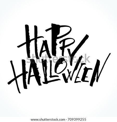 Happy Halloween Lettering Handwritten Modern Calligraphy Stock ...