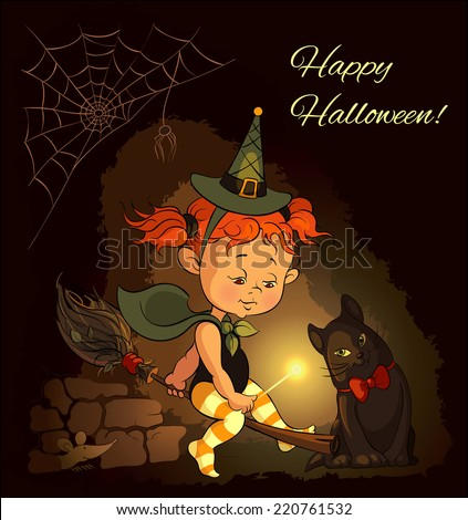 Happy Halloween. Little cute redhead witch learning to fly on a broom. Also available raster version in gallery - stock vector
