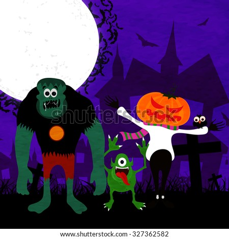 Happy Halloween Party celebration with scary zombie, monster and scarecrow on horrible night background.
