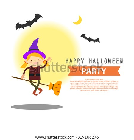 Happy Halloween party cute witch cartoon character vector illustration design background eps 10 - stock vector