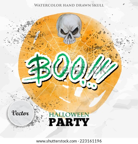 Happy Halloween party design on old paper and yellow watercolor circle background. Watercolor skull and BOO lettering. Vector illustration - stock vector