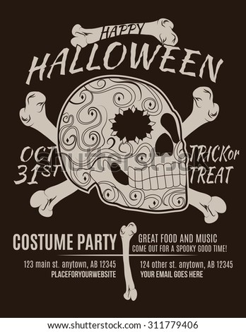 Happy Halloween Party Flyer with Sugar Skull and Bones - stock vector