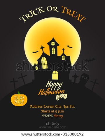 Happy Halloween party poster, flyer, banner. Celebration card. Trick or treat text. With pumpkin, bats moon and other halloween elements. Vector illustration - stock vector