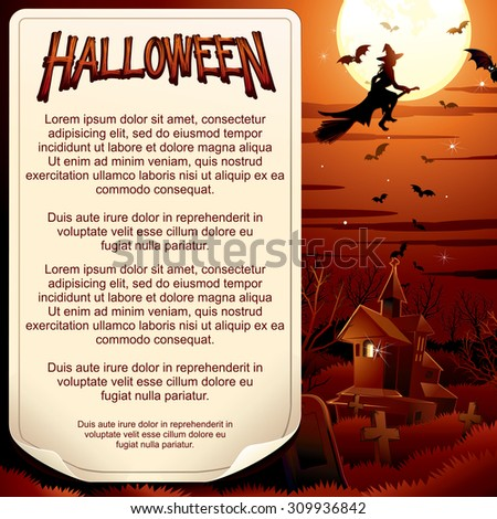 Happy Halloween Party Poster. Ready for Your Text and Design. - stock vector