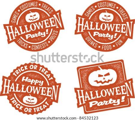Happy Halloween Party Stamps - stock vector