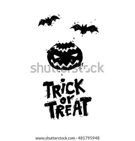 Happy halloween poster banner fly er pumpkin black on white