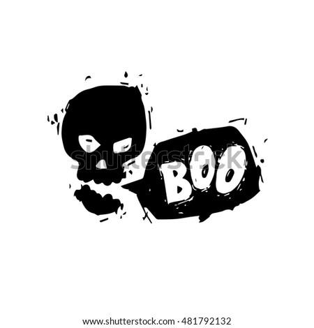 Happy halloween poster banner fly er talking skull black on white