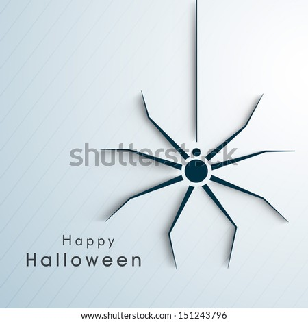 Happy Halloween poster, banner or background with spider on blue background.  - stock vector
