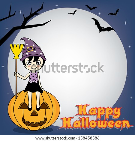 Happy Halloween Poster. girl dressed as witch sitting on a pumpkin. Space for text or photo - stock vector