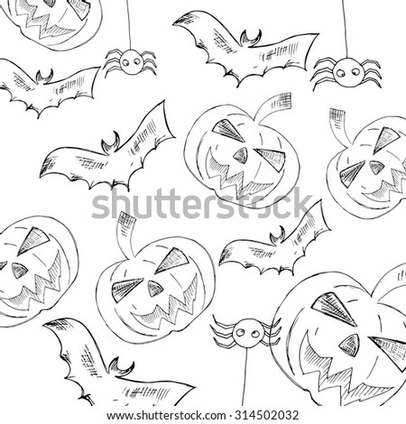 Happy Halloween Poster. Halloween series with pumpkin. Vector illustration. Trick or treat, hand drawn vector. Unique design element for housewarming poster or banner.  - stock vector
