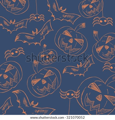 Happy Halloween Poster.Halloween series with pumpkin. Vector illustration.Trick or treat, hand drawn vector. Unique design element for housewarming poster or banner. - stock vector