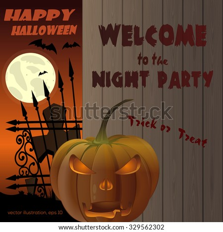 Happy Halloween Poster. Jack-o'-lantern on a background of a wooden fence. Full moon over the cemetery. Vector illustration. - stock vector