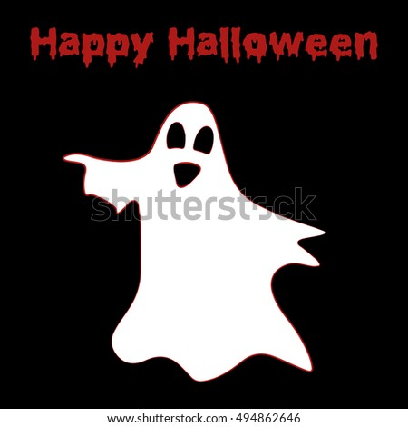 Happy Halloween Poster with ghost on black background. Template for prints, decoration. Vector illustration.