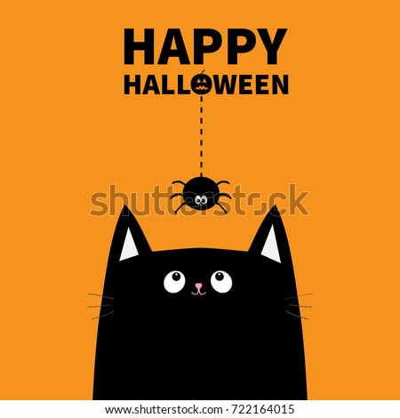 Happy Halloween Pumpkin Text Black Cat Stock Vector 722164015   Shutterstock