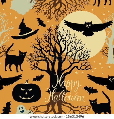 Happy Halloween, pumpkins, bats and cats. Black trees and a bright moon on a yellow background - stock vector