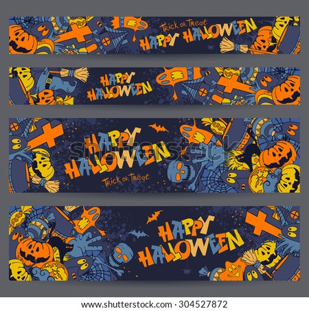 Happy Halloween retro styled doodle creative banners with various elements of holiday on dark blue grunge background. Proportions - standard for web. Vector illustration. - stock vector