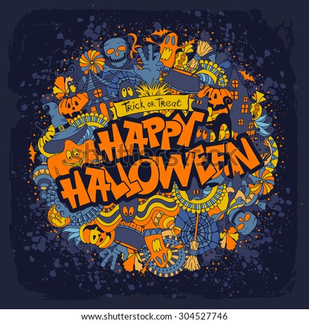 Happy Halloween retro styled doodle creative design with various elements of holiday on dark blue grunge background. Vector illustration. - stock vector