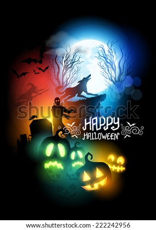 Happy Halloween Scenic vector illustration with a werewolf, zombie and Jack O' Lanterns. - stock vector