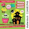 happy halloween scrapbook collection. vector illustration - stock vector