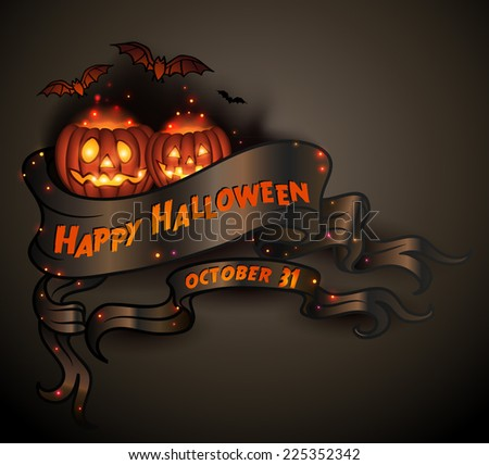 Happy Halloween scroll banner with pumpkins and bats - vector illustration. - stock vector