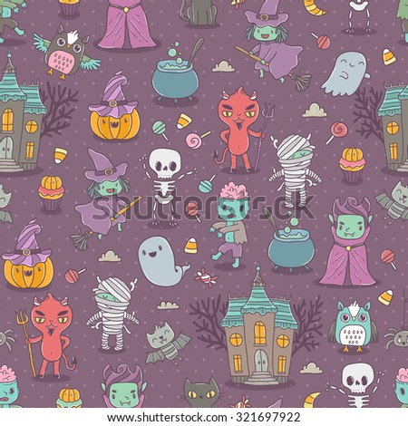 Happy Halloween seamless pattern with cute characters - vampire, zombie, dracula, pumpkin, witch, ghost, bat, devil, mummy, skeleton, owl and black cat - stock vector