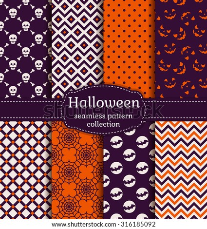 Happy Halloween! Set of seamless patterns with traditional holiday symbols: skulls, bats, jack o'lantern and web. Collection of backgrounds in purple, orange and white colors. Vector illustration. - stock vector
