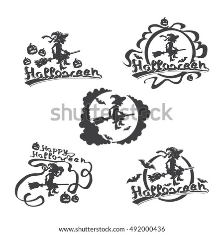 Happy Halloween set. Witch on broomstick. Isolated on white. Halloween themed monochrome logos emblems, badges, stickers. Vector illustration.