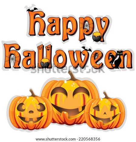 Happy Halloween sign on wooden background  - stock vector