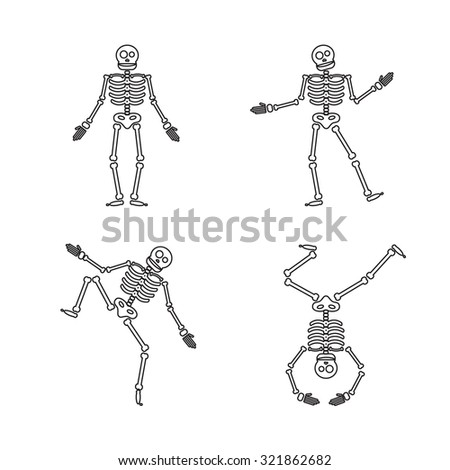 Happy Halloween skeleton illustration, zombie from bones and skull. Vector - stock vector