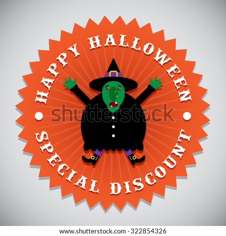 Happy Halloween Special Discount Witch Seal Badge - stock vector