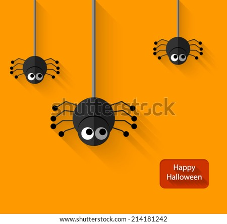 Happy Halloween spiders flat illustration with long shadow - stock vector