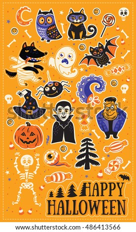 Happy Halloween. Stickers collection of characters and icons for Halloween in cartoon style. Pumpkin, ghost, bat, candy and owl, cat, wolf, spider, skeleton. Illustration on yellow background