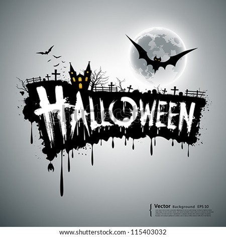 Happy Halloween text design background, vector illustration - stock vector